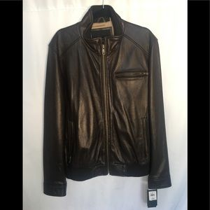 Wilsons Leather Bomber Rip Knit Hem Chocolate XL
